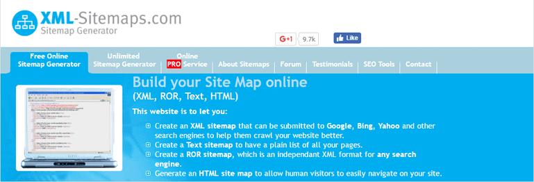 XML-sitemaps.com sitemap generator website