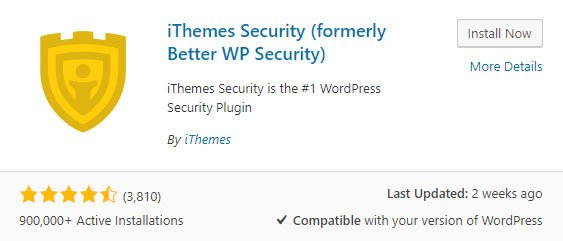 iThemes Security plugin info as seen in WordPress plugin repository