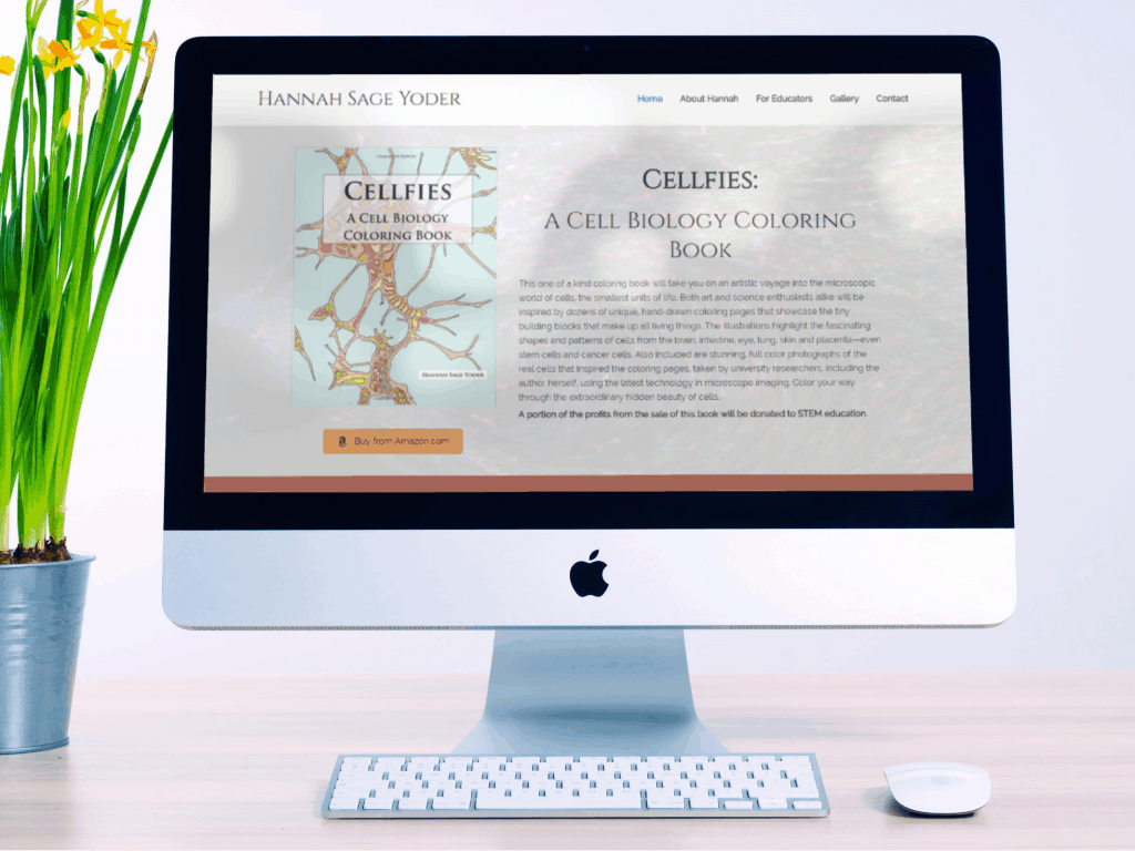 screenshot of Cellfies Coloring book website shown on a iMac computer